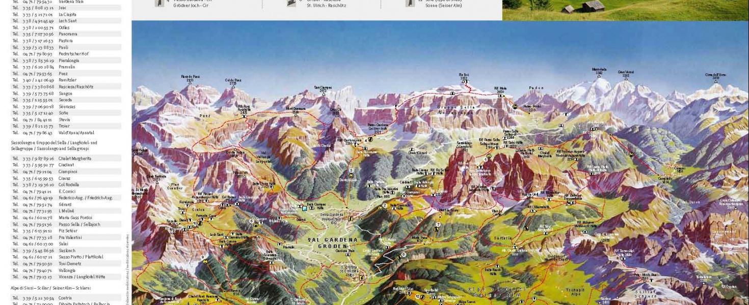 Hiking map of Val Gardena